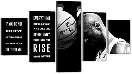 WeiYang 5 Panels Basketball Player Kobe Bryant Wall Art NBA Superstar Pictures Canvas Painting Modern Posters Prints Artwork Home Office Bedroom Decor Memorabilia Fan Gift