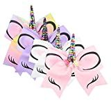laamei 8' Unicorn Hair Bows Band 4PCS Large Cheer Bows With Elastic Headband for Sports Cheerleader Accessories Ties for Baby Girls Teen Toddlers Party