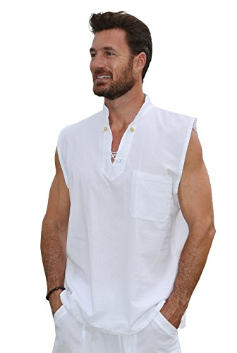 Cotton Natural Mens Cool and Casual Sleeveless Pima Cotton Shirt Large White (Pima Cotton Dress)