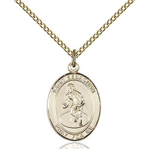 Gold Filled St. Sebastian / Wrestling Pendant 3/4 x 1/2 inches with Gold-Filled Lite Curb Chain by Bonyak Jewelry