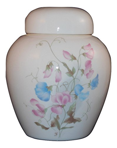 (Sweetpeas Urn- Cremation urn or keepsake for ashes - Hand Made Pottery)