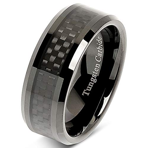 (100S JEWELRY 8mm Tungsten Carbide Ring Carbon Fiber Inlay Black Plated Wedding Band Size 8-15 (11.5))