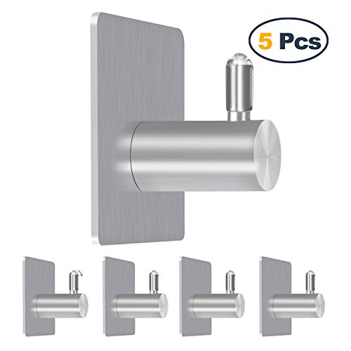 Self Adhesive Stainless Steel Heavy Duty Wall Hooks 5 Pack