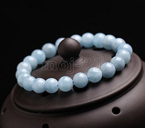 "Natural 8mm Brazilian Aquamarine Round Gemstone Beads Bracelet Bangle 7.5"" AAA"