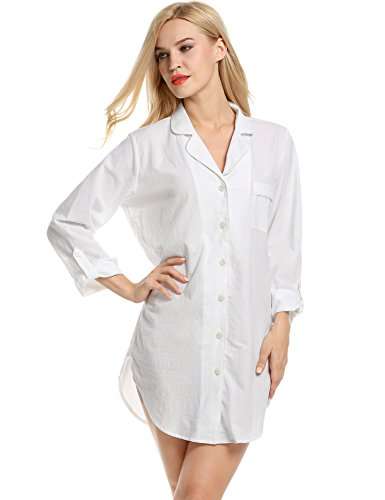 Avidlove Womens Sleep Shirt Luxury Sleepwear Long Sleeve Button-Front Nightshirts,White,X-Large