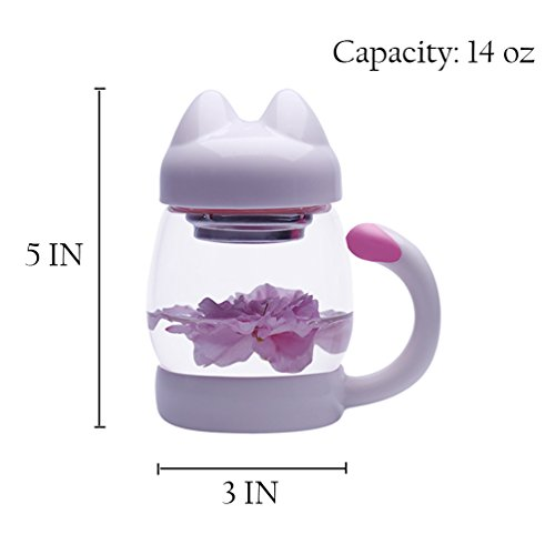 MeGlass Cute Cat Tea Mugs, 14oz Protable Glass Tea Cup with a Lid & Infuser for Home & Office Use (White) by MeGlass (Image #2)