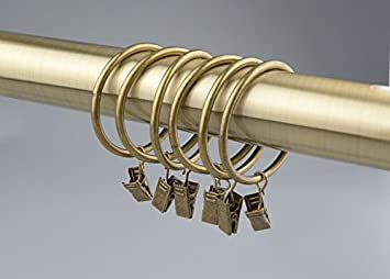 Lot de 14 Anneaux de Rideau avec Pince et Crochet ø50mm (Bronze ...
