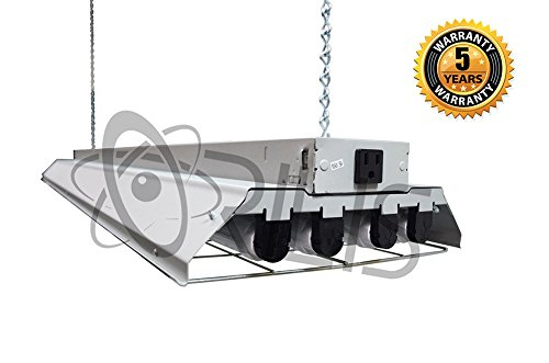 Grey LED 4 Ft. 96 Watt Heavy-Duty High Bay Hanging 4 Light Shop Light Plug In T8 Fixture with Pull Chain - Wire Guard - External Convenience Outlet - Links - Outlet Shops The