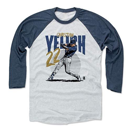 500 LEVEL Christian Yelich Baseball Tee Shirt X-Large Indigo/Ash - Milwaukee Baseball Raglan Shirt - Christian Yelich Rise B