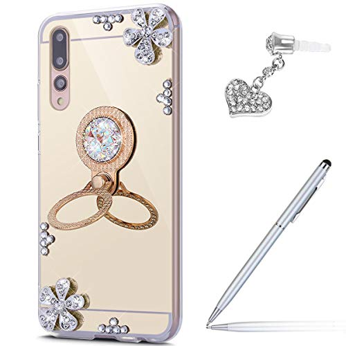 Price comparison product image Case for Huawei P20 Pro Diamond Case, Crystal Inlaid diamond Flowers Rhinestone Diamond Glitter Bling Mirror Back TPU Case & Ring Stand Holder + Touch Pen Dust Plug for Huawei P20 Pro Mirror Case, Gold