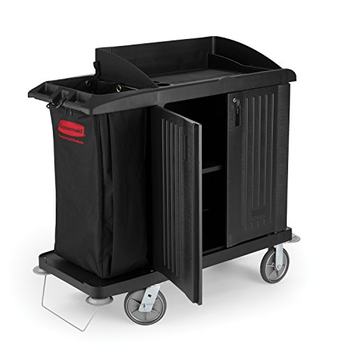 Rubbermaid Commercial Executive Series Compact Housekeeping Cart, Black, FG619200BLA