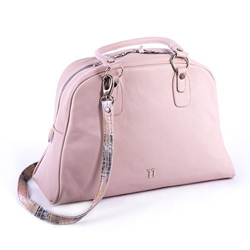 Pink Italian Soft Leather Tote Bag with Spacy Interior, Four Inner Pockets, and a Cross Shoulder Adjustable Strap, Women's Designer Handmade Bags