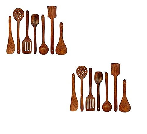 MAZOR HOME Wooden Serving and Cooking Spoons Set Kitchen Organizer Items Kitchen Accessories Set of 7 – Pack of 2