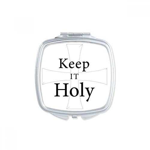 Keep It Holy Bible Quote Shabbath Square Compact Makeup Pocket Mirror Portable Cute Small Hand Mirrors Gift by DIYthinker