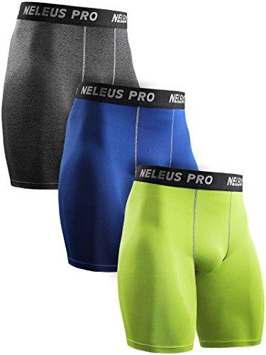 Neleus Men's 3 Pack Compression Shorts Athletic Sport Underwear,6034,Grey,Blue,Green,US L,EU XL by Neleus