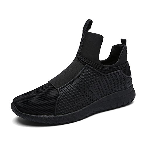 Leader Show Men's High Top Breathable Running Shoes, Fashion Sport Athietic Sneaker (10, Black)