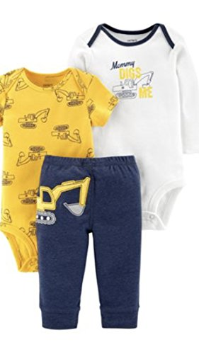 Carter's Baby Boys' 3-Piece Little Character Set (Yellow/Navy Construction, 18 Months) ()