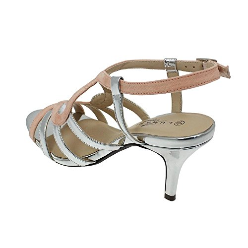 Lunar Alston Elegance Sandal in Blue or Pink with Silver Trims, 3,4,5,6,7,8 4 Pink