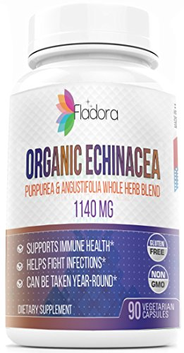 Organic Echinacea 1140 mg - Purpurea and Angustifolia whole herb blend - 90 Vegetarian Capsules by Fladora