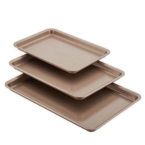 Anolon Gourmet Nonstick Bakeware Set with Nonstick Cookie Sheets / Baking Sheets – 3 Piece, Bronze Brown