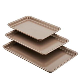 Anolon Gourmet Nonstick Bakeware Set with Nonstick Cookie Sheets / Baking Sheets - 3 Piece, Bronze Brown