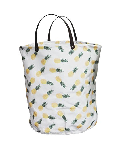 FUNNYGO Large Storage Bin ,Ramie Cotton/ Canvas Fabric Folding Storage Basket With Handles- Toy Box/ Toy Storage/ Toy Organizer for Boys and Girls - Laundry Basket/ Nursery Hamper (Pineapple)