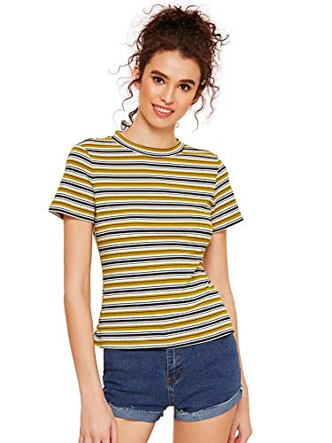 Milumia Women's Casual Multi Striped Ribbed Short Sleeve Tee Knit Top Yellow - Fitted Striped Shirt