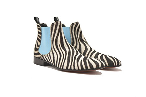 Customized Shoes - Zebra Hairy Leather Chelsea Boot - Man