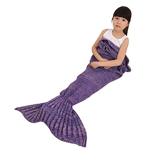 DDMY Knitted Mermaid Tail Blanket For Kids Adult Handmade Crochet Mermaid Sleeping Cotton and Woolen Blanket Warm Soft Living Room Quilt Best Birthday Christmas gift (Purple- Kids)