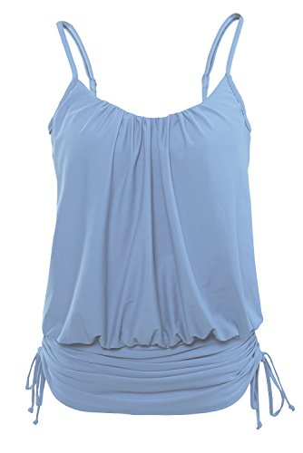 Lalagen Women's Straps Ruched Push Up Swimsuit One Piece Swimwear Monokini Light Blue - Made Usa Swimsuits In Womens