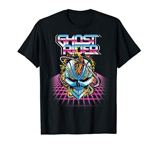 Marvel Ghost Rider Super 80s Retro Neon Grid Graphic T-Shirt