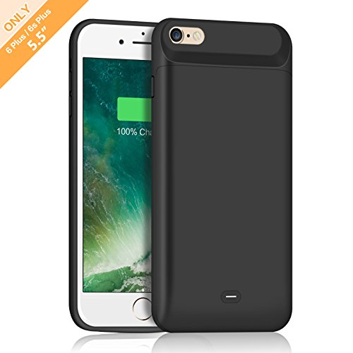 Battery Case 7200mAh for iPhone 6S Plus 6 Plus HETP Portable External Power Battery Rechargeable Charging Case for    iPhone 6+,6S+ (5.5 Inch)- Black