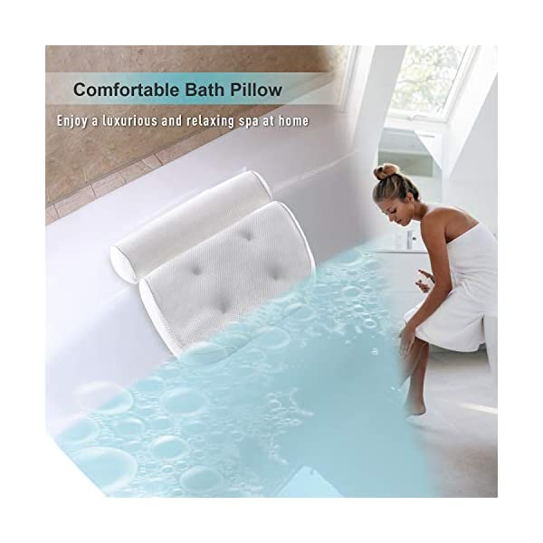 Bath Pillow Bathtub Pillow - Bath Pillows for Tub with Neck, Head, Shoulder and Back Support - 3D Air Mesh Spa Bath…
