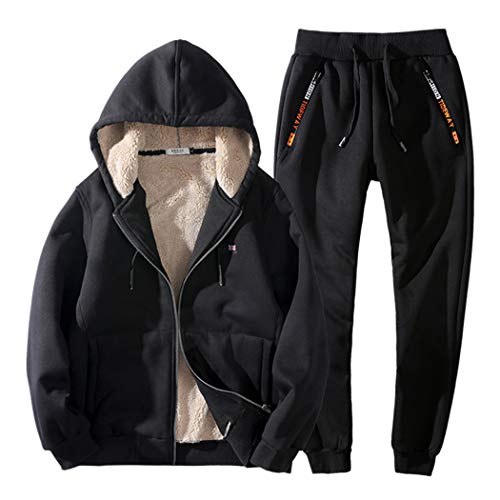 Real Spark Men's Winter Fleece Hoodie Jacket & Jog Pants Set Casual Running Tracksuit Black XS by Real Spark (Image #7)