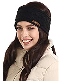 Womens Cable Knit Ear Warmer Headband - Winter Fleece Lined Headwrap by  Brook + Bay c9764d525ba