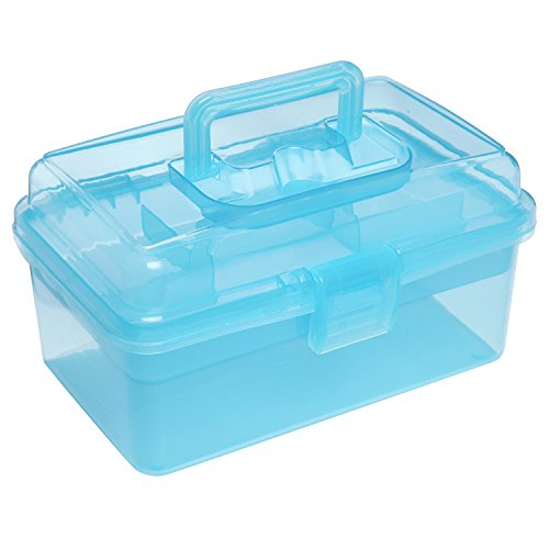 Clear Blue Multipurpose First Aid, Arts & Craft Supply Case / Storage Container Box w/ Removable Tray by MyGift
