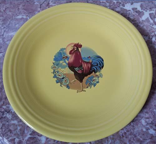 Fiestaware Dinner Plate - w/Chicken Rooster - Sunflower Yellow - Homer Laughlin China Co. Fiesta