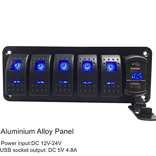 (Switchtec 2 3 5 Gang Rocker Switch Aluminum Panel with 4.8 Amps Dual USB Rocker Style Fast Charger with Voltmeter, Blue Backlit Led, Pre-Wired for Marine, Boat, Car, Truck)