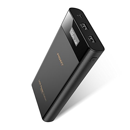 Universal External Battery Pack (20000mAh Power Bank, Pisen Dual-USB Output Portable Battery Charger Power Station, High Capacity External Battery Pack w/ LCD Display, Universal Travel Charger for iPhone 8, X, Samsung S8 and More)