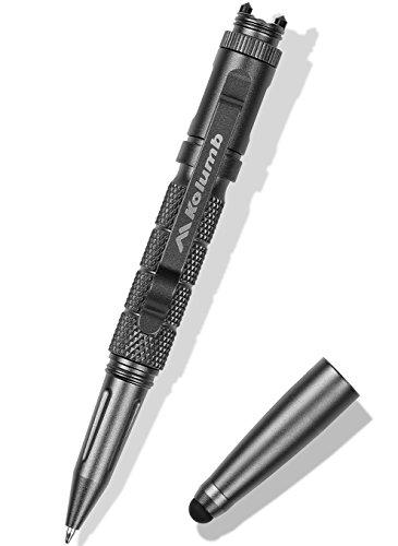 kolumb Premium 5-in-1 Tactical Pen - Gray Multipurpose Pocket Tool - Fine Point Ball Pen - Built-in Touch Screen Stylus & LED Light - Glass Breaker Tungsten Tip - Made of Durable Aircraft Aluminum