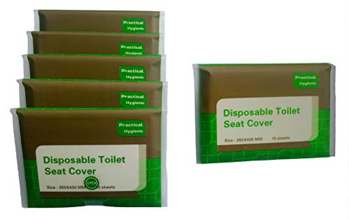 Toilet Seat Covers Disposable Travel portable 5 Packs (50 - Count) + 1 Free Pack (10-Count) Travel Sanitary Toilet Seat Cover Portable Eco-Friendly Bio-Degradable Paper
