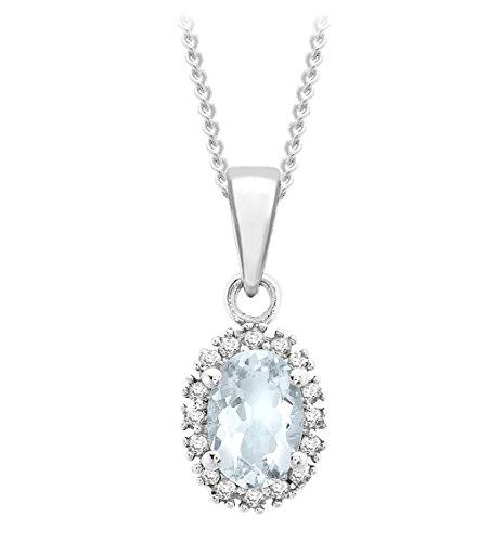 Carissima Gold - Collier avec pendentif - Femme - Or blanc (9 cts) 1.45 Gr - Aigue Marine - Diamant