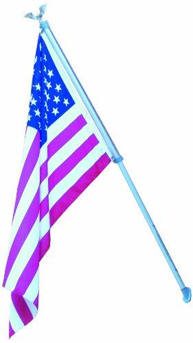 Dock Flagpole Mount - Dock Edge + Inc. Wall Mount Aluminum Flag Pole with USA Flag (6.5-Feet)