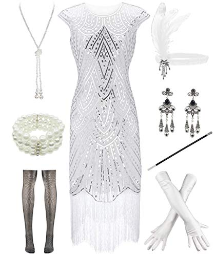 Women 1920s Vintage Flapper Fringe Beaded Gatsby Party Dress with 20s Accessories Set (M, Style 2-White)