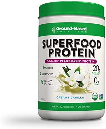 Superfood Protein, Plant-Based Protein Powder – Superfood + Greens for Immune Support – Lean, Organic, Vegan, Keto, Paleo, Lactose-Free, No Sugar, Low Calorie Protein Powder, Non-GMO, Gluten Free (20 Servings, Creamy Vanilla) 1