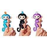 Fingerlings Interactive Monkeys Bella Pink Baby Monkey & Zoe Turquoise Baby Monkey 2 Pack (Bella - Pink with Yellow Hair and Zoe - Turquoise with Purple Hair)
