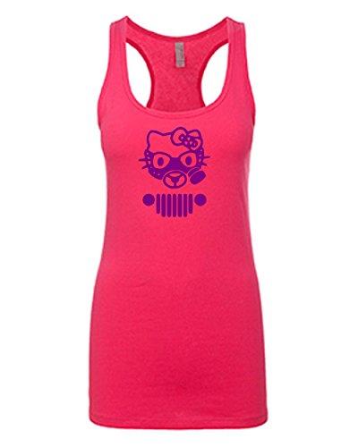 Hello Kitty Jeep Tank Top   Jeep Fan Girl Racerback Tanktop Purple Design   Womens Pink XX-Large