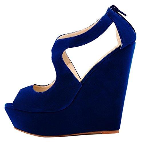 MERUMOTE - Sandalias de vestir para mujer Dunkel Blau-Faux Wildleder