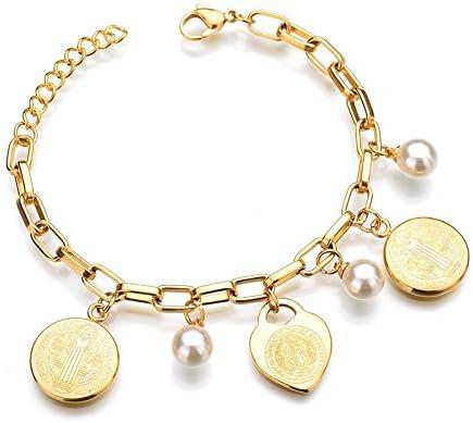 Nuevos Encantos Joyas Cristianas La Virgen María Color Oro Perlas Pulseras De Acero Inoxidable Brazaletes para Mujeres