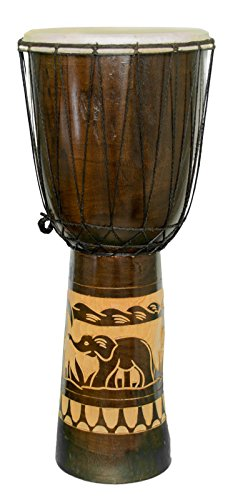 60cm Anfänger Djembe Trommel Bongo Drum Buschtrommel Afrika-Style handgeschnitzt aus Mahagoni Holz Elefant